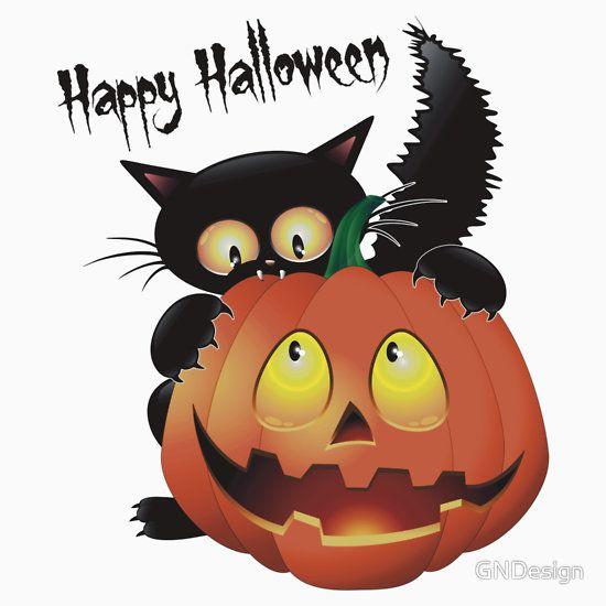 Halloween Cat With Pumpkin Kindermode Von Gndesign Halloween Cartoons Halloween Bilder Lustige Halloween