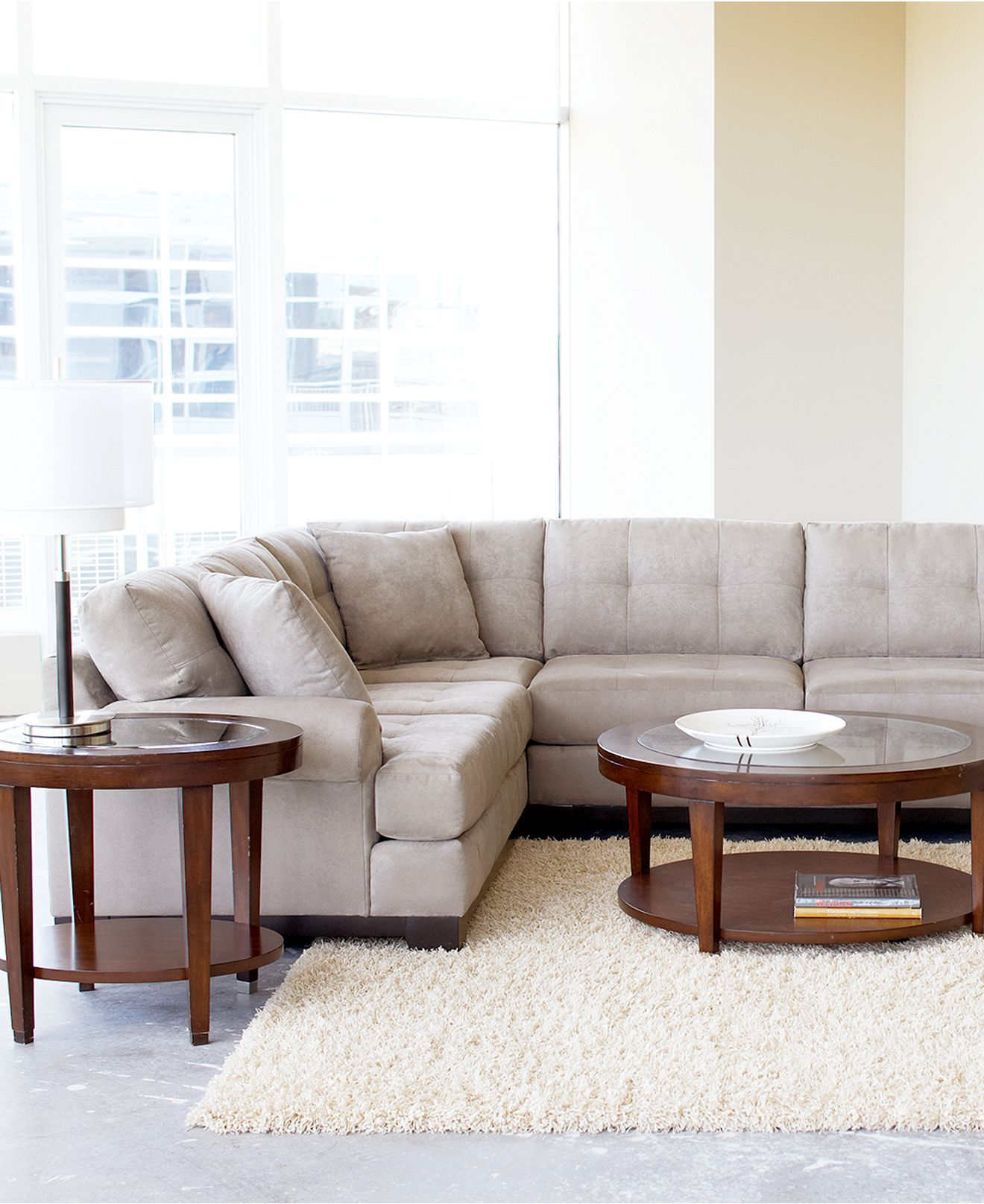 Evan fabric sectional in stone from macys