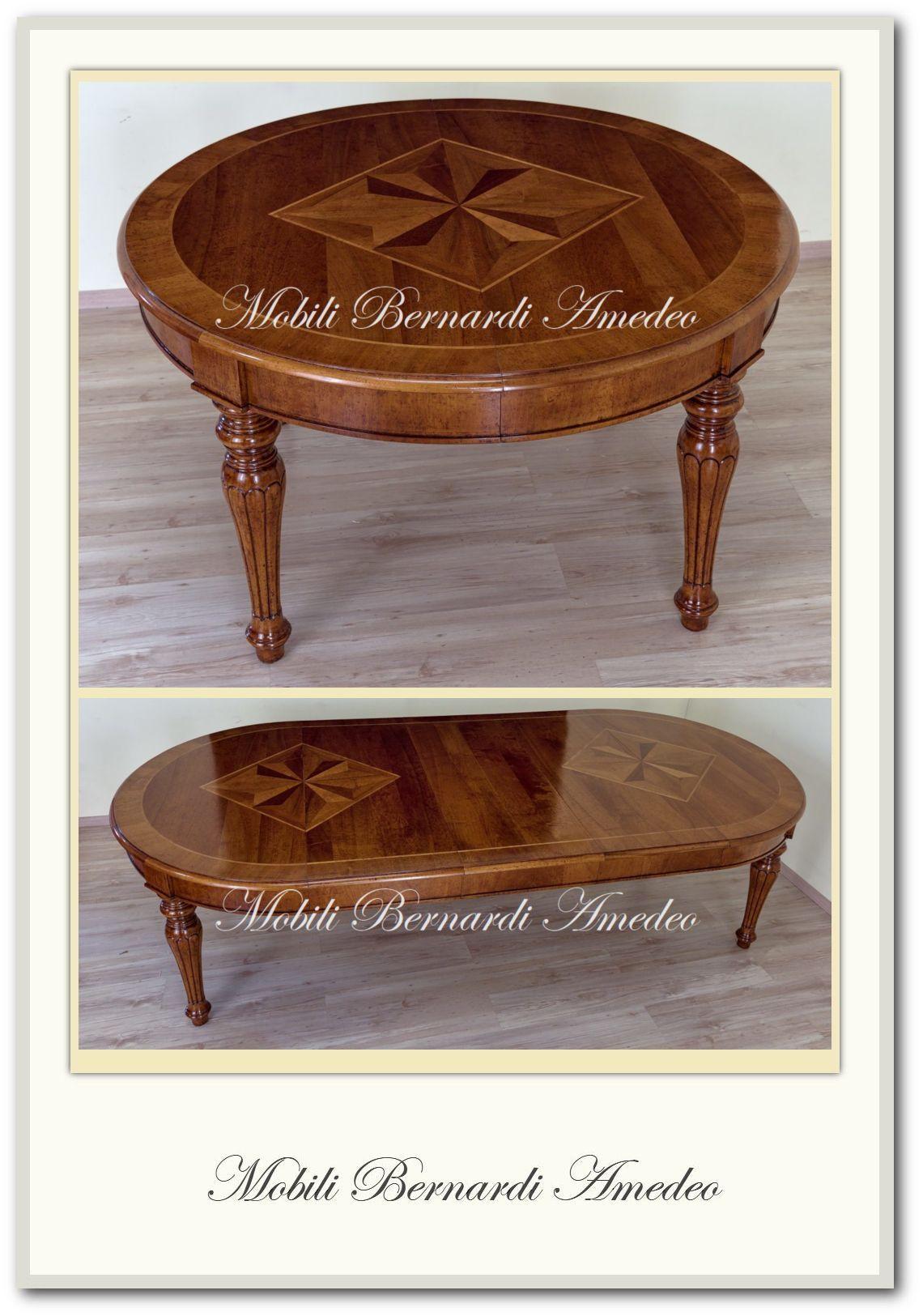 Tavolo Con Gamba Centrale Allungabile tavolo rotondo in legno di noce, gambe tornite, intarsio
