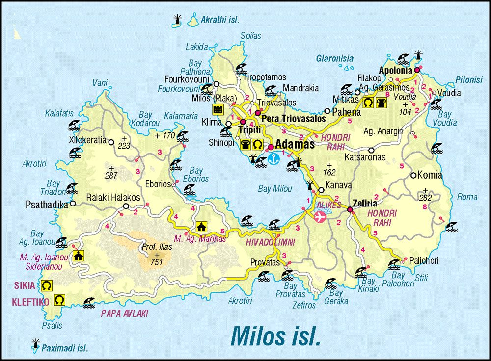 Grecia Greece Cyclades Island Milos Map