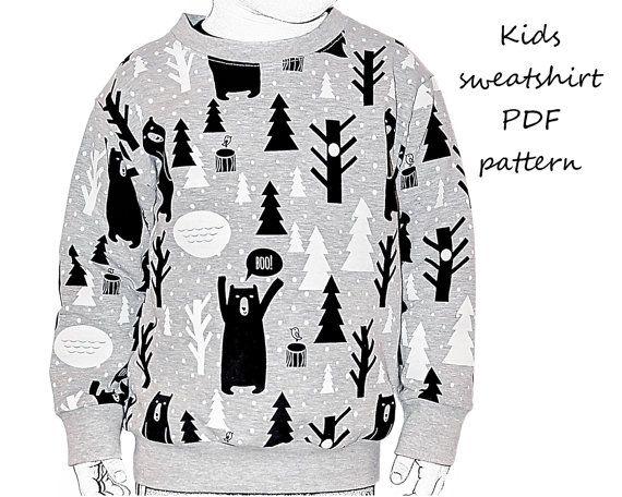 Kids sweatshirt sewing pattern PDF download, sewing patterns todler ...
