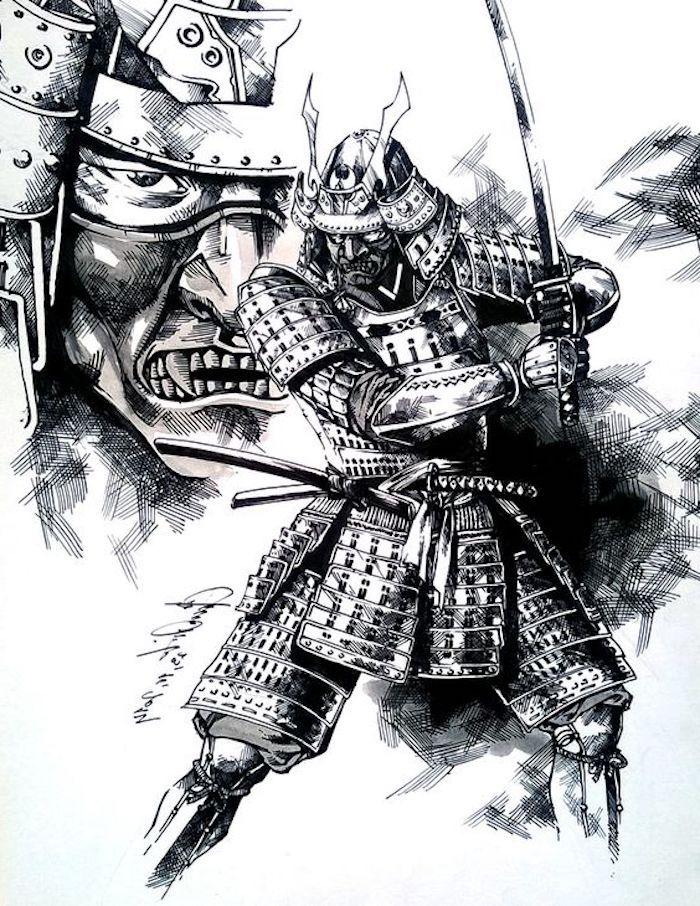 krieger tattoo vorlage schwarz wei e zeichnung samurai. Black Bedroom Furniture Sets. Home Design Ideas