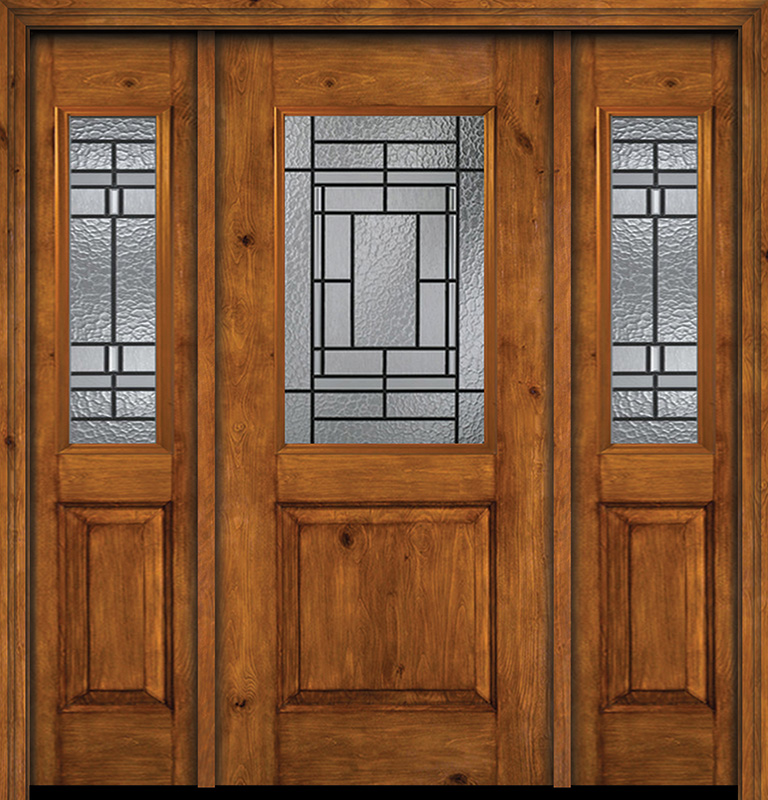 Alder Rustic Plain Panel 1 2 Lite Single Entry Door Sidelites Pembrook Glass Exterior Doors Rustic Doors