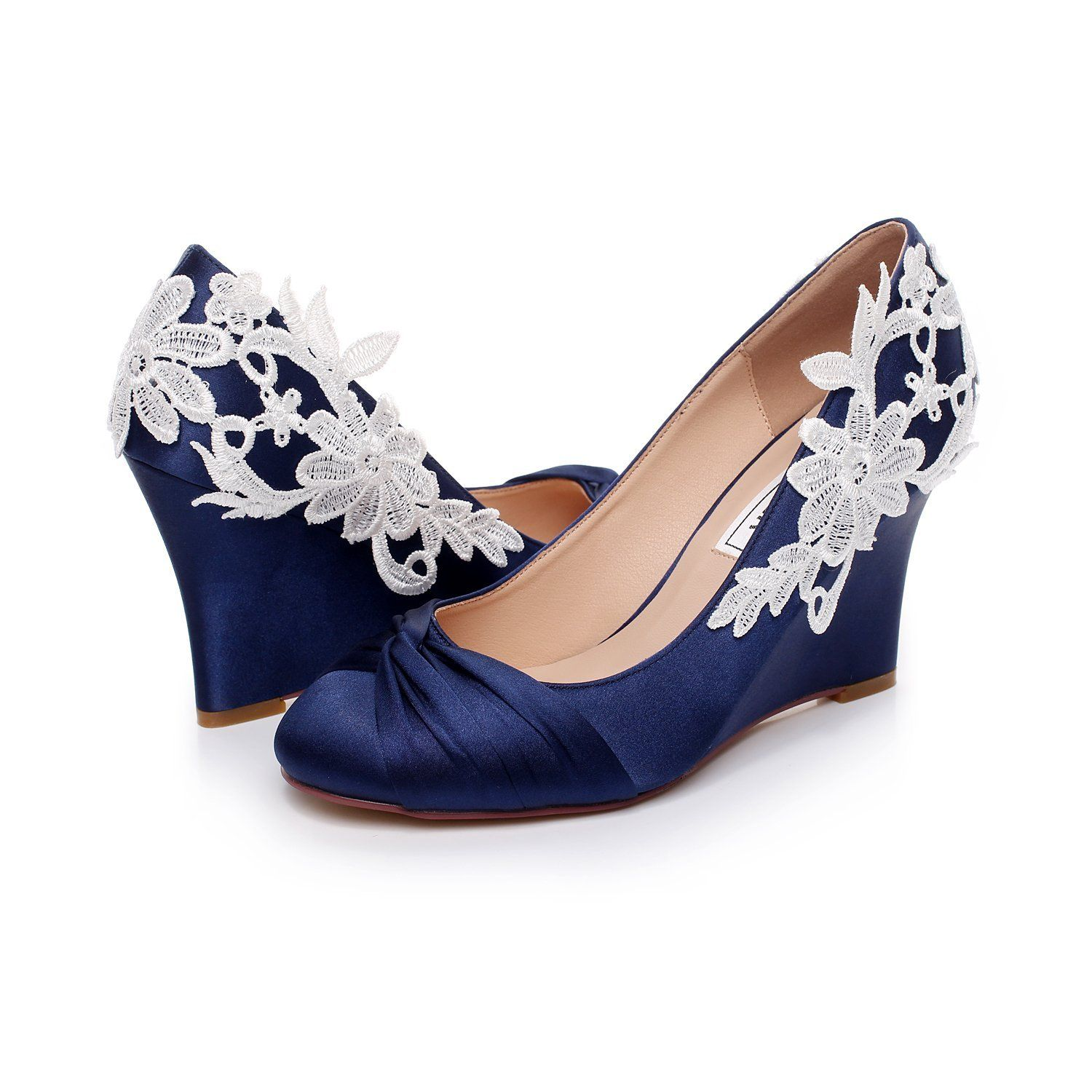 Luxveer Dark Blue Wedding Shoes Wedges With White Lace Flowers