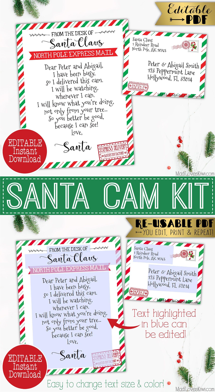 Editable Santa Cam Letter Printable Claus Spy Cam Note