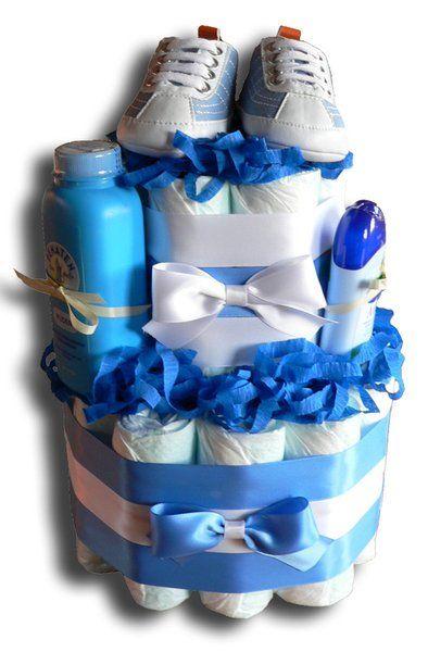 Erste Schühchen Windeltorte blau - Taufe, Geburt