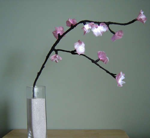 Diy Step By Step Instructions For Lighted Flower Branches Cherry Blossom Centerpiece Cherry Blossom Home Floral Arrangements