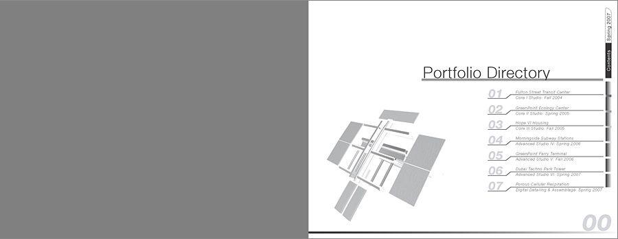 Architecture portfolio design table of contents www for Architecture portfolio tips