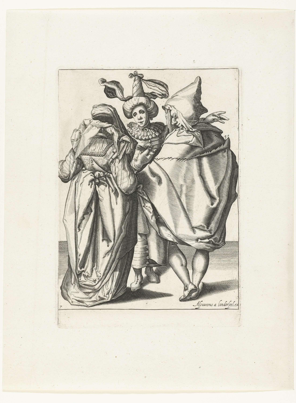 Anonymous | Een feestelijke geklede vrouw, een man in een cape en een gemaskerde jongeman die zijn linkerarm uitstrekt, Anonymous, Jacob de Gheyn (II), Assuerus van Londerseel, 1596 - 1635 | Een feestelijke geklede vrouw en een man in een cape - beiden op de rug gezien - staan voor een gemaskerde jongeman met een tulband op; deze laatste strekt zijn linkerarm uit in een weids gebaar. Deze prent is onderdeel van een serie van negen genummerde prenten, waarop twee of drie gemaskerde en/of…