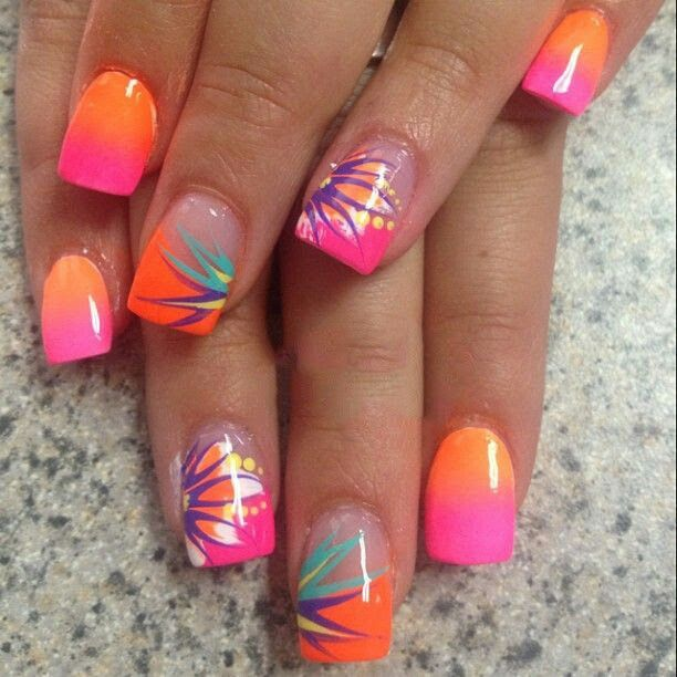 Image Via Neon Nails And Black Studs Bright Green Cute Summer Nail Designs