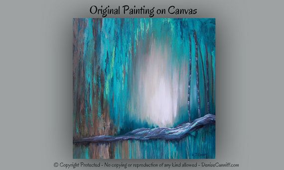 Large Wall Art Canvas Turquoise Abstract Painting Teal Home Decor