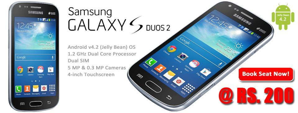 Last 7 seats, Rs. 200/- only for #SamsungGalaxy #SDuos2 S7582. RUSH NOW!! http://www.dealite.in/Auction/Samsung-Galaxy-S-Duos-2-S7582/DEAL09112174  * Original, box packed and with 1 Year manufacturer's warranty * Dual SIM (GSM + GSM) * 1.2 GHz Cortex-A9 Dual Core Processor * Android v4.2 (Jelly Bean) OS * 5 MP Primary Camera * 0.3 MP Secondary Camera * 4-inch TFT Capacitive Touchscreen * FM Radio * Wi-Fi Enabled * Expandable Storage Capacity of 32 GB