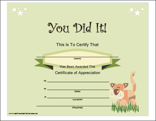 "A general ""You Did It"" certificate of appreciation for a ..."