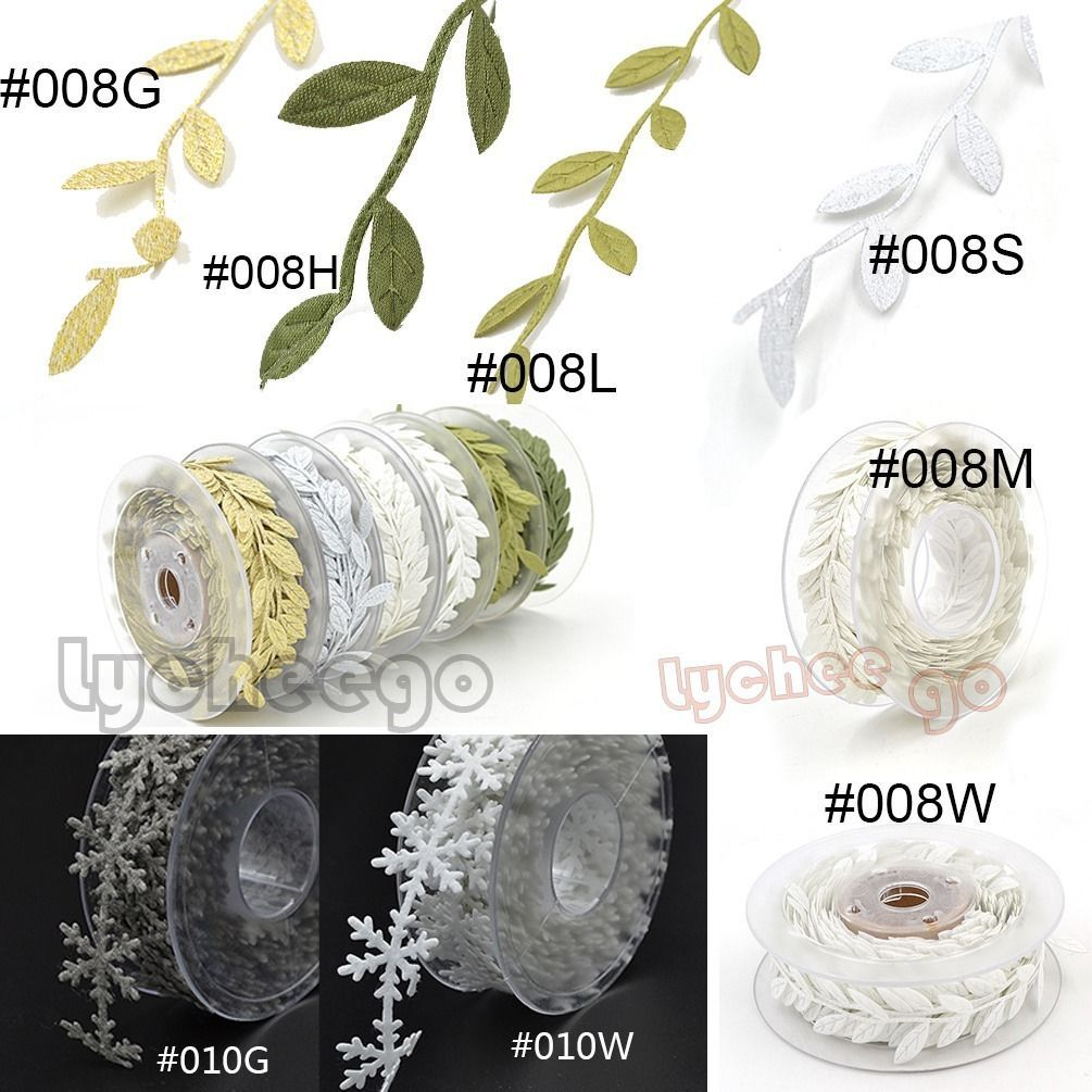 1 yd Craft Supplies Leaf Ribbon Satin Leaves Vine Garlands Sewing Lace Trimming