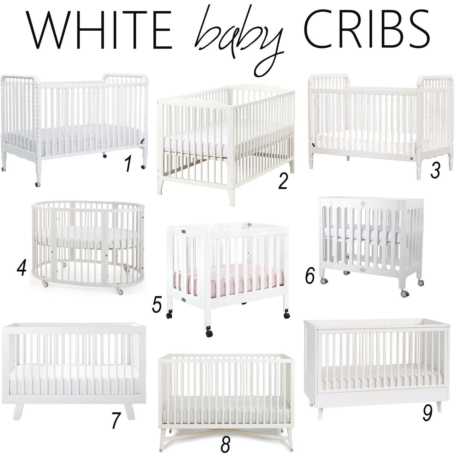 Baby cribs pictures - White Baby Crib Round Up Iron And Twine