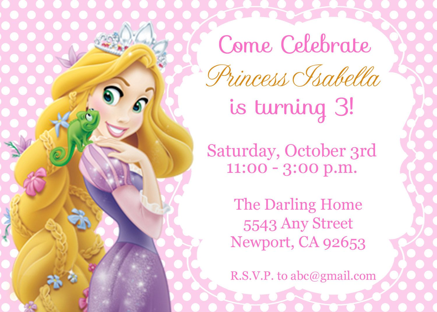 Tangled Rapunzel Invitation Disney Princess by StarPartyPrintables Disney Rapunzel TANGLED