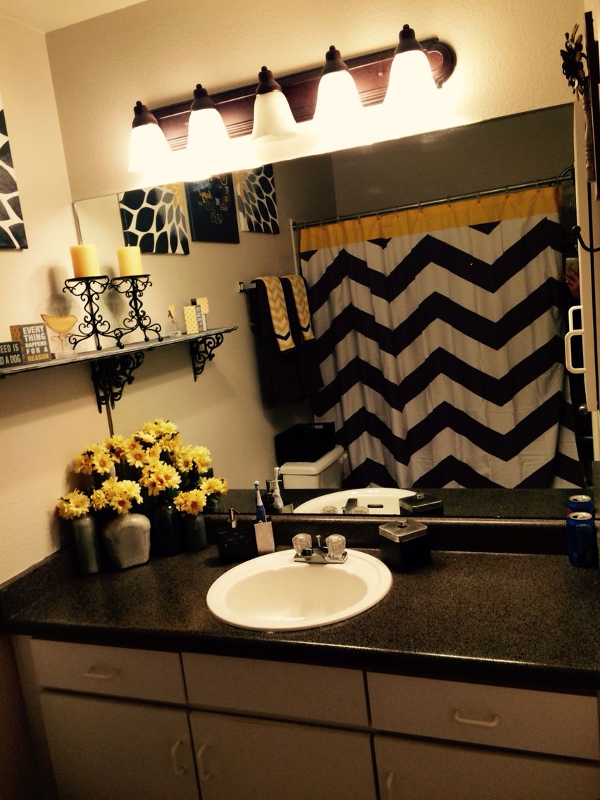 Grey Yellow And Black You Are My Sunshine Themed Bathroom