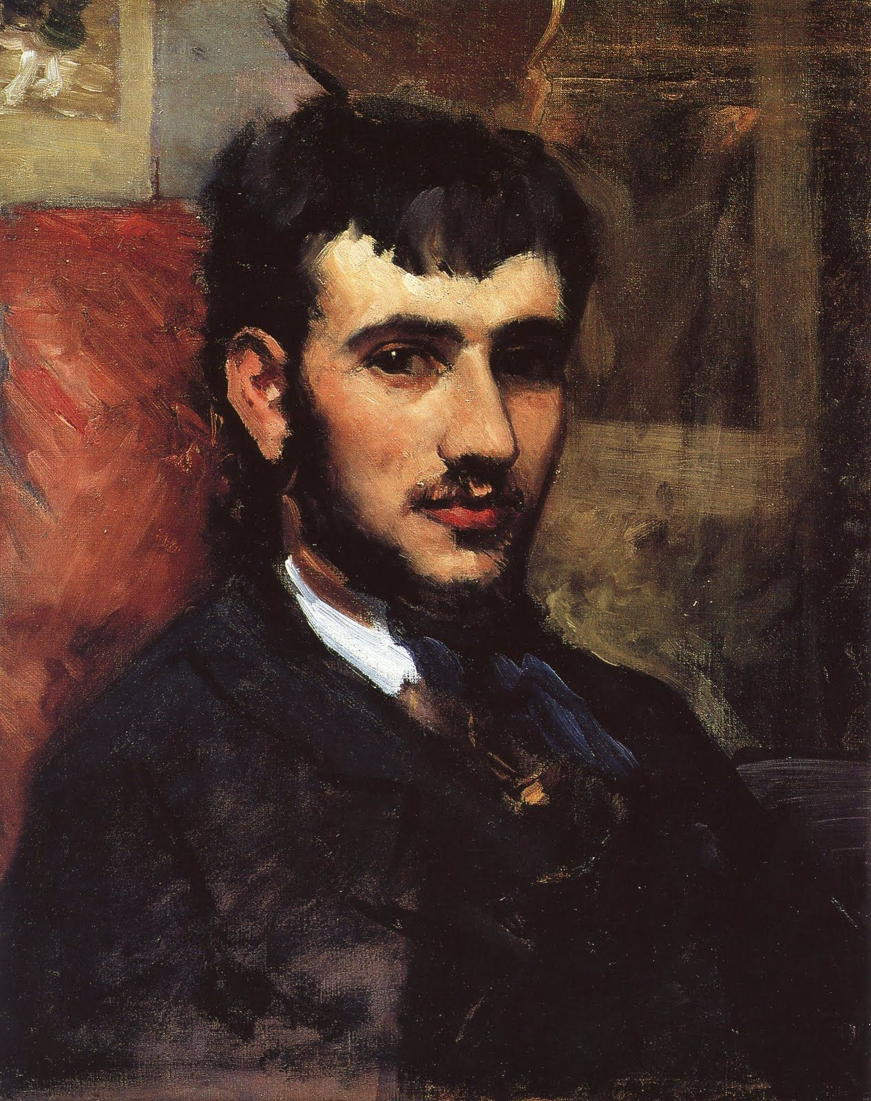 lovely tender Portrait of Renoir (1867), by his friend artist Frederic Bazille