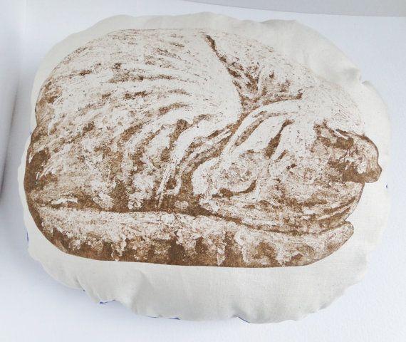 Sleeping Cat Cream Stuffie Cushion Hand Printed by ClareSherwen, £12.00