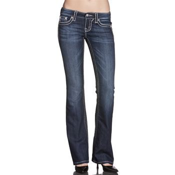 Miss me women's loose saddle stitch bootcut jeans