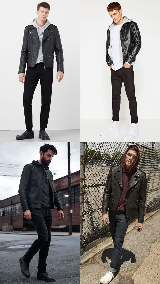 Men's Hoodies with Leather Jackets Outfit Inspiration