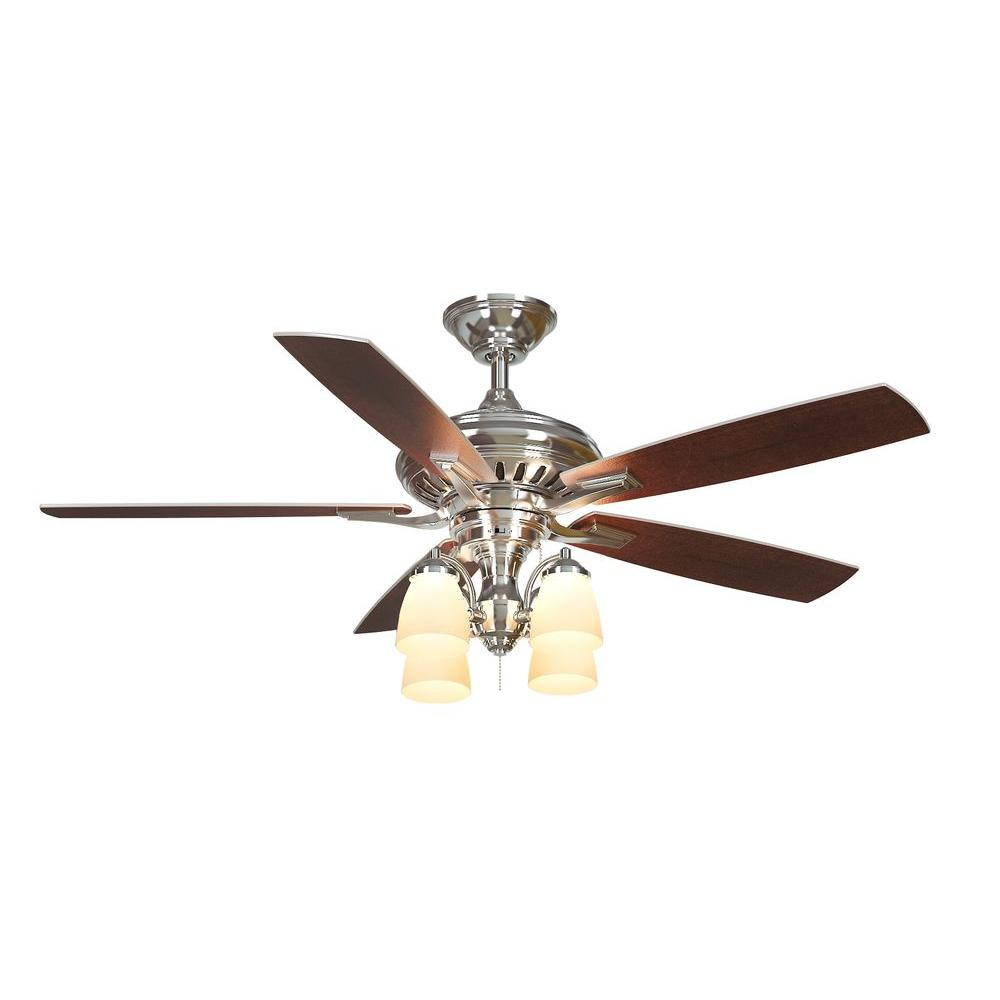 139 Hampton Bay Bristol Lane 52 In Polished Nickel Ceiling Fan 14950 The Home Depot Ceiling Fan With Light Brushed Nickel Ceiling Fan Ceiling Fan