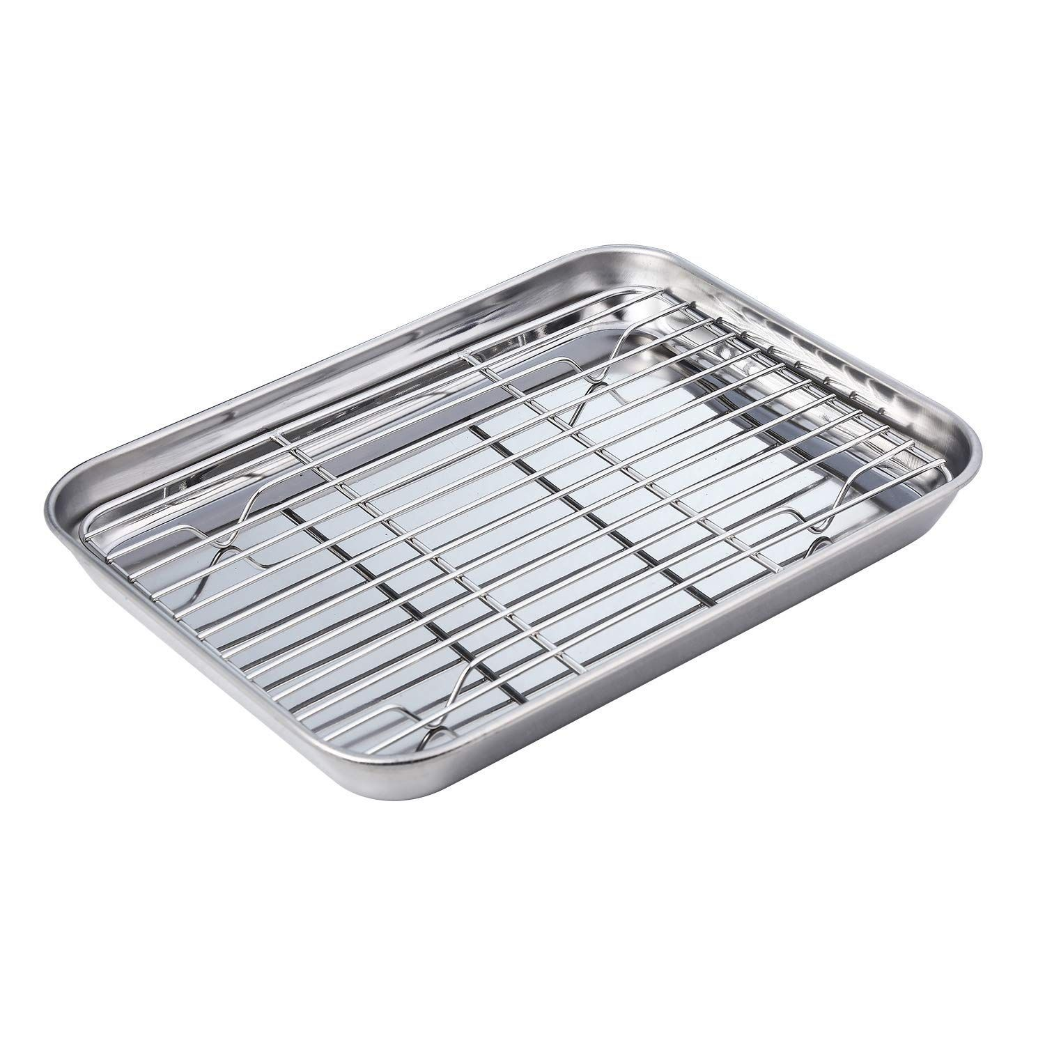 New Heavy Duty 1 4 Size Cooling Rack Cooling Racks Wire Pan Grade Commercial Grade Oven Safe Chrome 8 X 10 Inches Set Cooling Racks Oven Safe Oven Pan