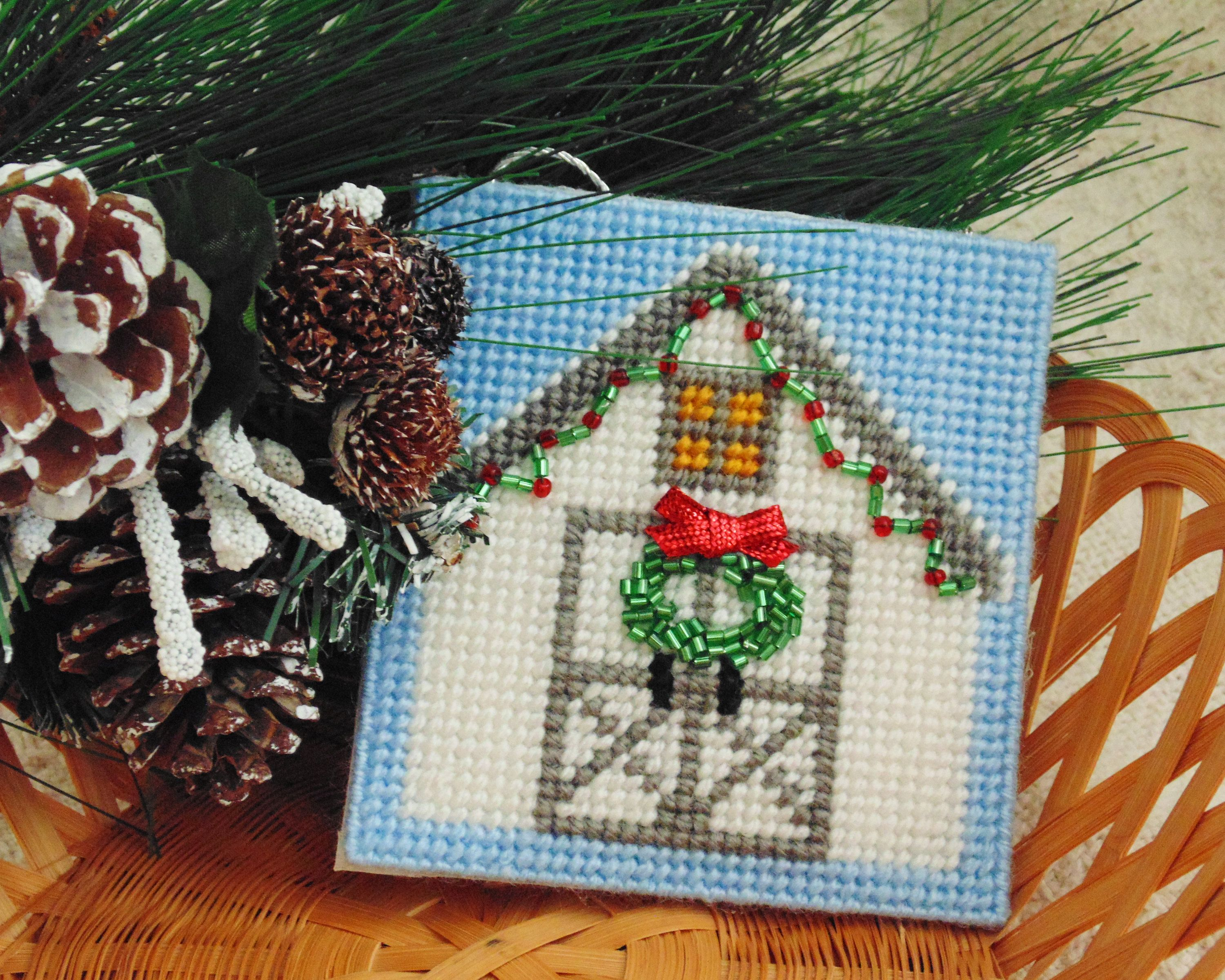 White Barn Christmas Ornament, Needlepoint Barn, Holiday