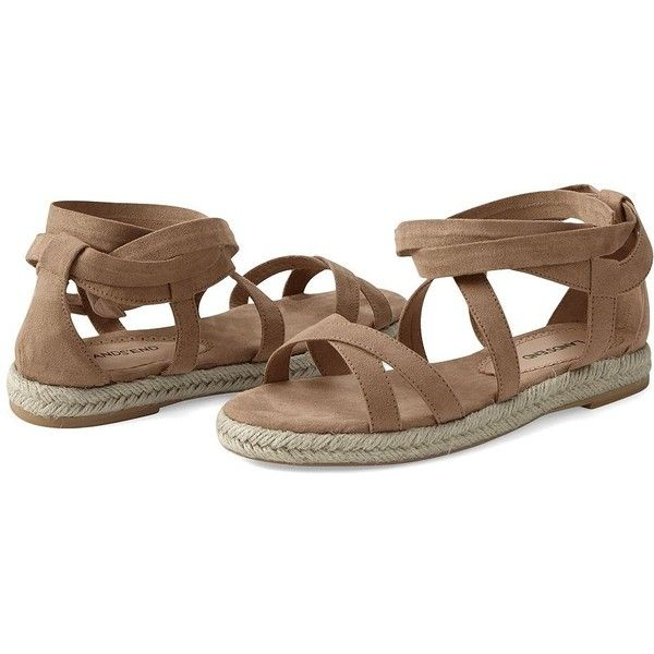 Canvas by Lands' End Women's Espadrille Gladiator Sandals ($30) ❤ liked on Polyvore featuring shoes, sandals, summer sandals, espadrille sandals, greek sandals, greek gladiator sandals and roman sandals