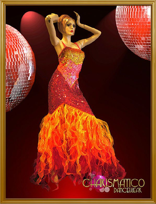Iridescent Triple Tone Fire Sequin Drag Queen Gown with Flame Ruffles  64e9b9d45