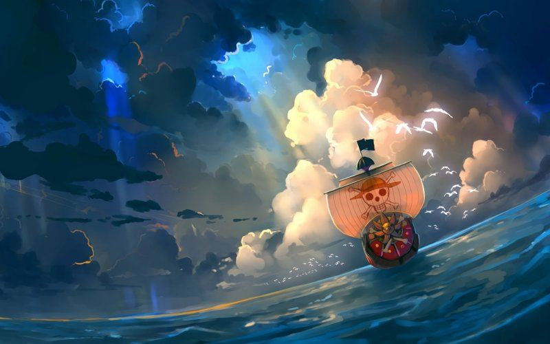 Wallpaper One Piece Thousand Sunny Pirate Ship Clouds Sea Anime Wallpaper One Piece Anime One Piece Ace
