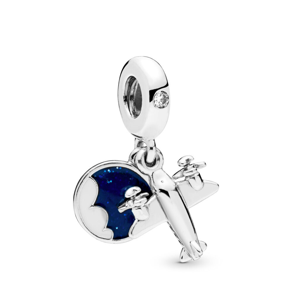 925 Sterling Silver Dangling Number 21 with Clear Cubic Zirconia Charm Bead