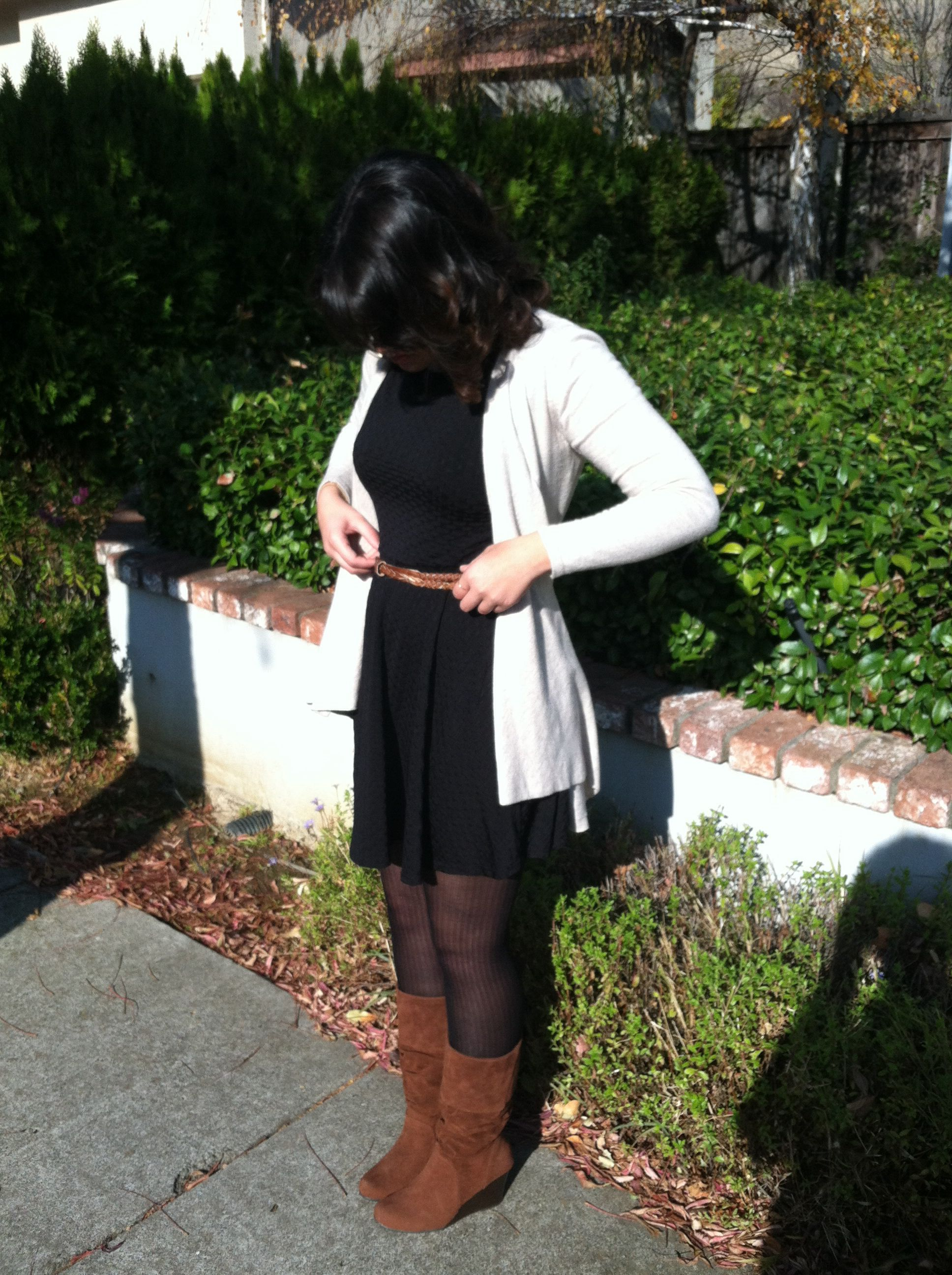 Thanksgiving Outfit Little Black Dress Brown Belt Creme Cardigan Brown Boots Curly Hai Office Outfits Women Casual Womens Casual Outfits Fall Dress Outfit [ 2592 x 1936 Pixel ]
