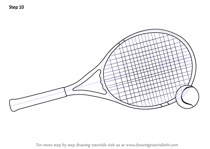 Learn How To Draw Tennis Racket And Ball Other Sports Step By Step Drawing Tutorials Tennis Racket Tennis Rackets
