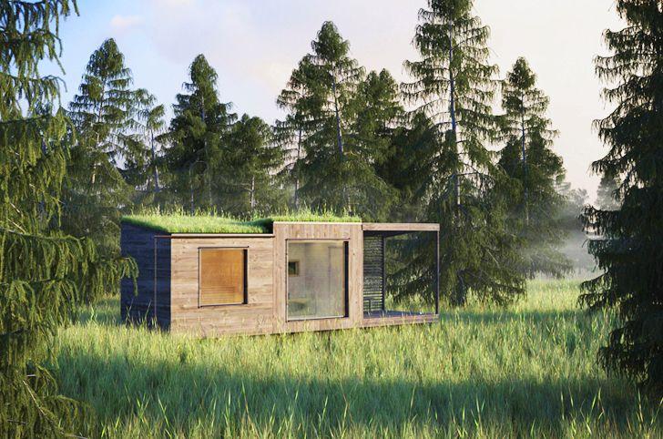 Jonas Wagell 39 S Tiny Green Roofed Arjan Sauna Vanishes In