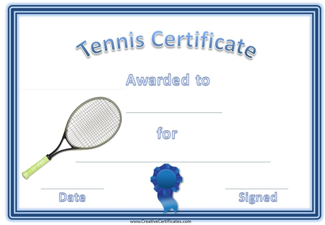 Tennis Certificate With A Picture Of A Tennis Racket Year 5 Girls