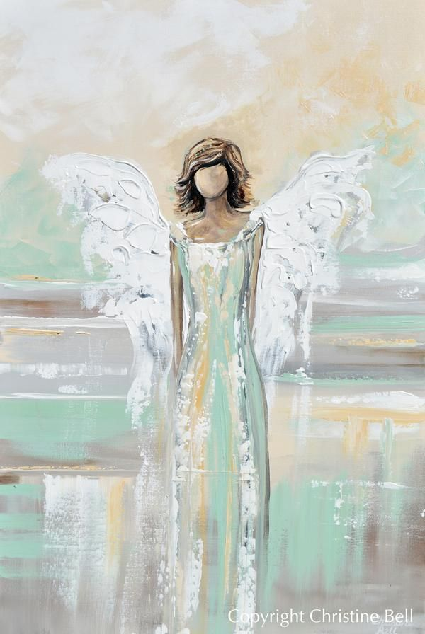 Original Abstract Angel Painting White Grey Gold Guardian Angel Artwor Contemporary Art By Christine In 2020 Angel Painting Angel Artwork Angel Wall Art