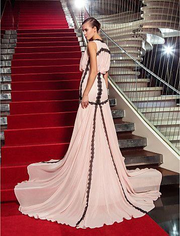 Sheath/Column V-neck Sweep/Brush Train Georgette Evening Dress (759922) - USD $ 99.99