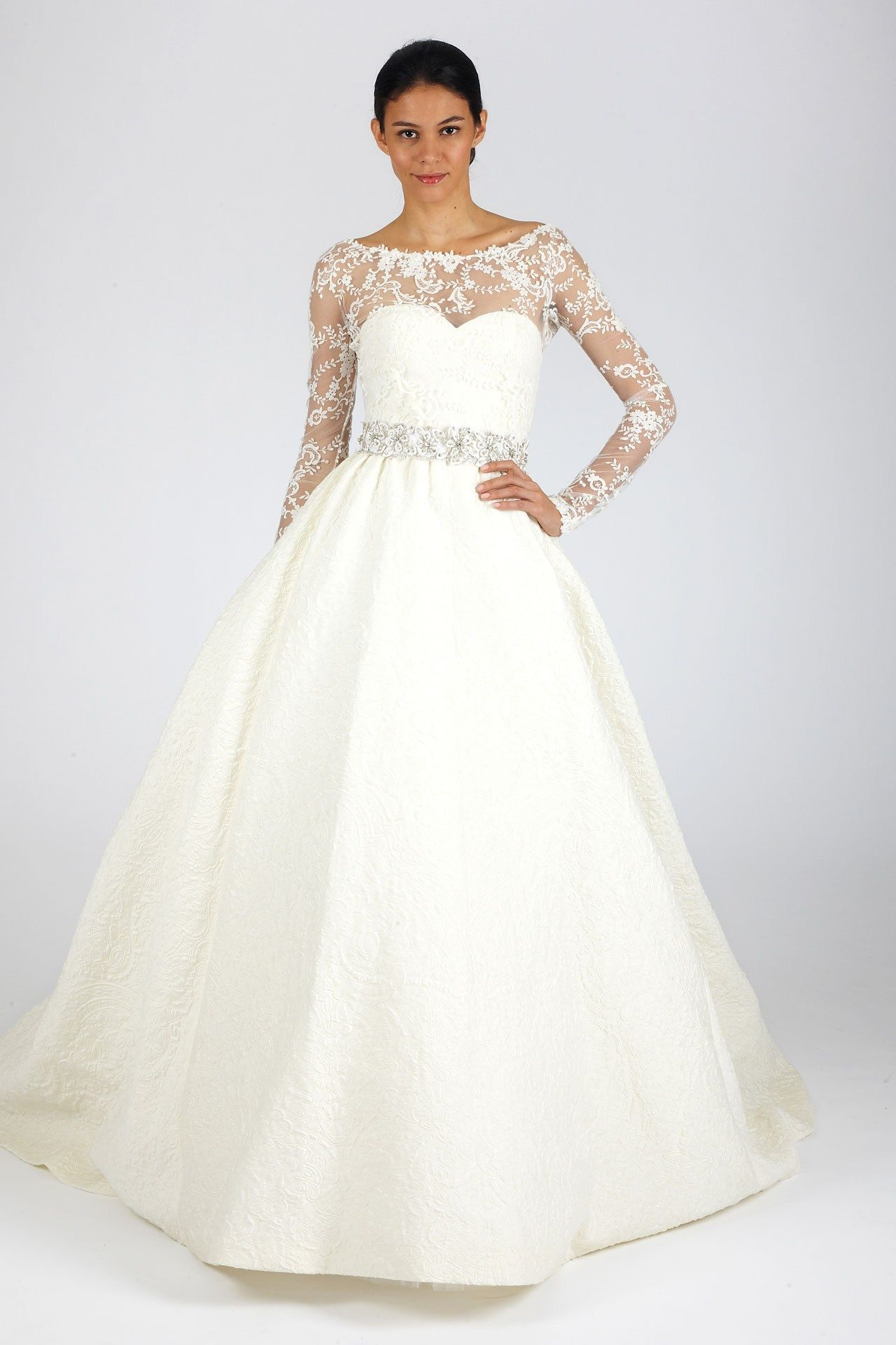 long sleeve lace princess wedding dress