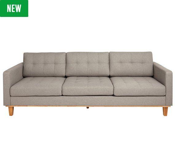Hygena Aliso 3 Seater Fabric Sofa Grey At Argos Co Uk