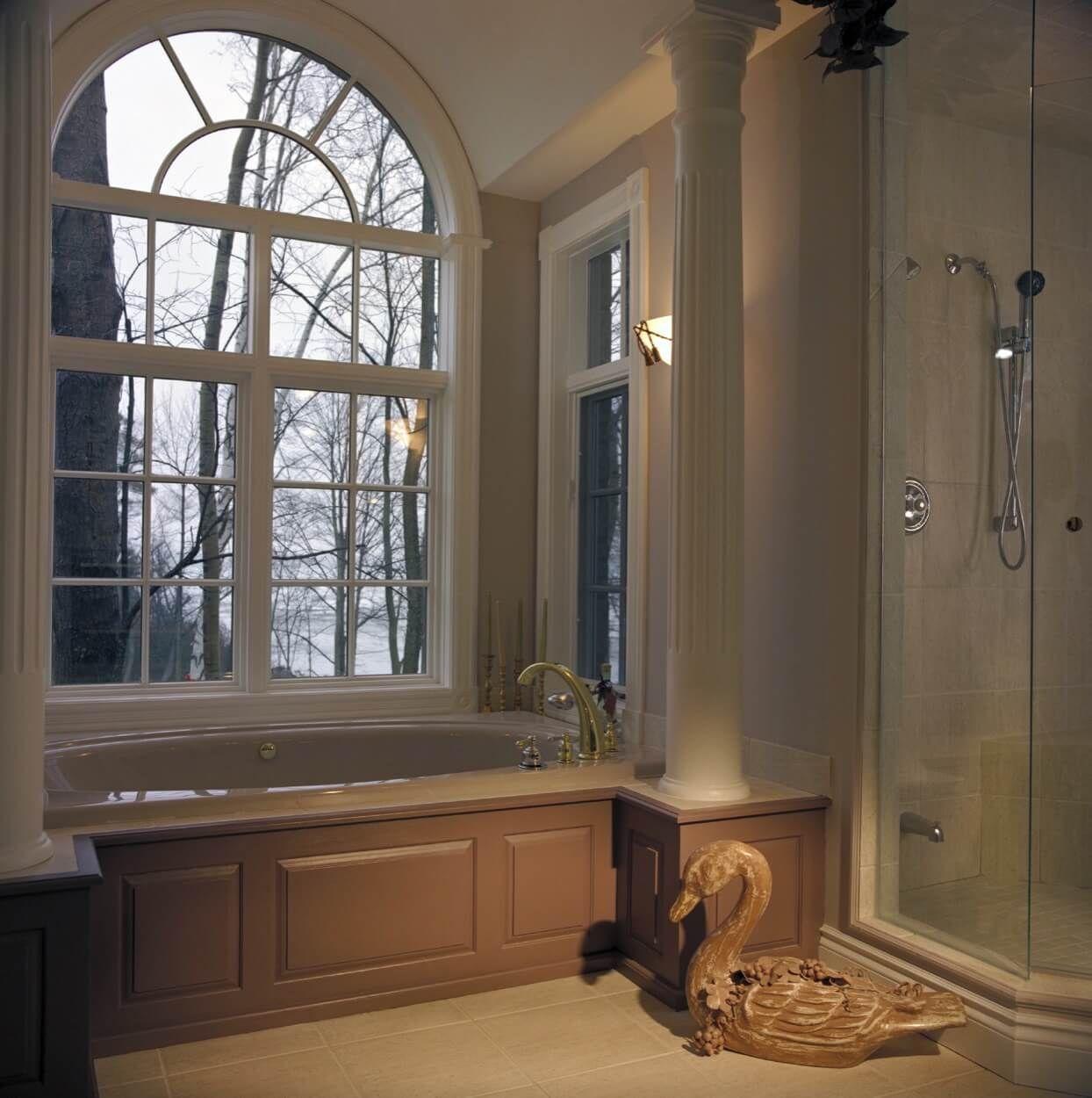 Built In Soaking Tub Under Oversized Window | Bathroom Ideas ...