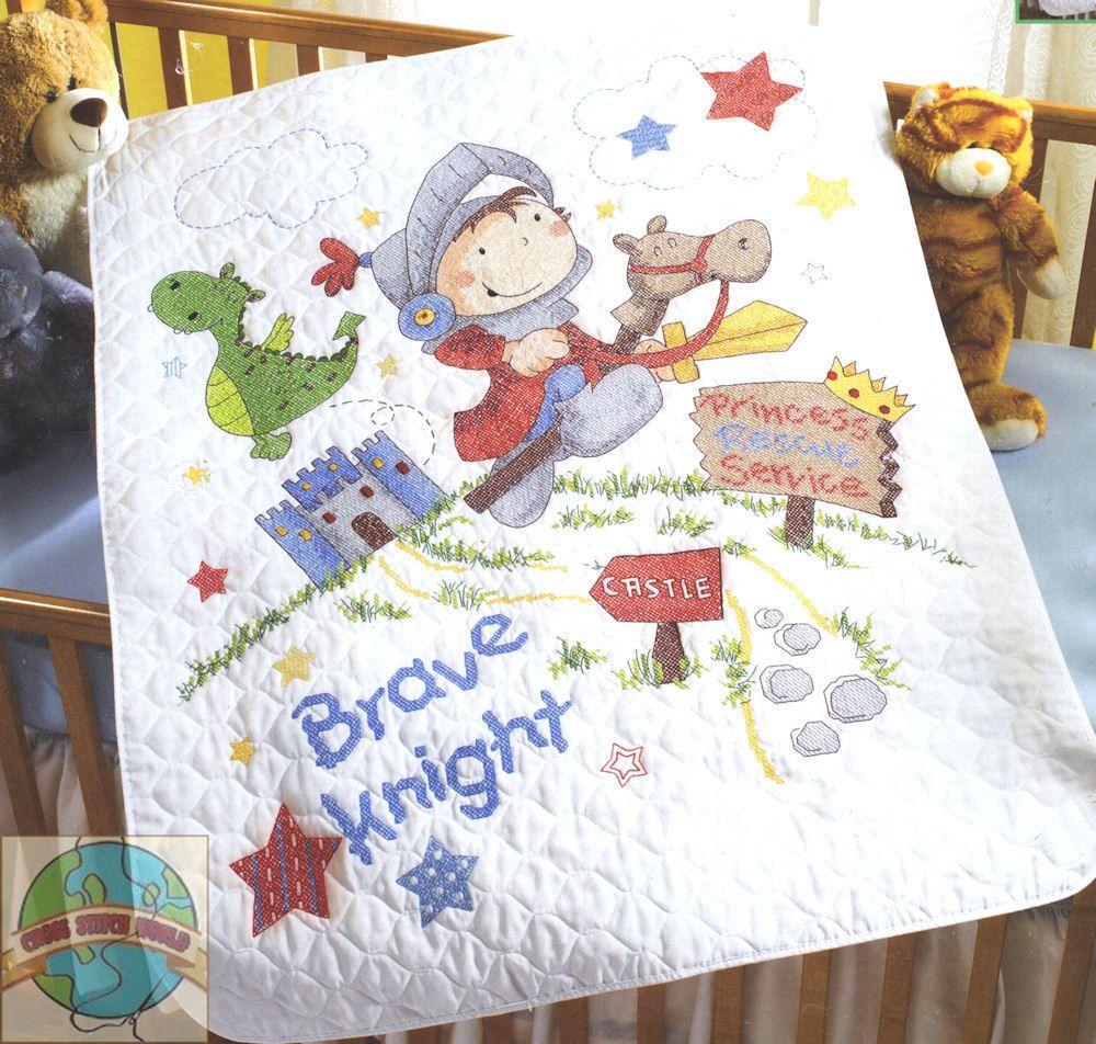 Cross Stitch Kit ~ Plaid-Bucilla Brave Knight Crib Cover / Baby ... : bucilla cross stitch baby quilts - Adamdwight.com