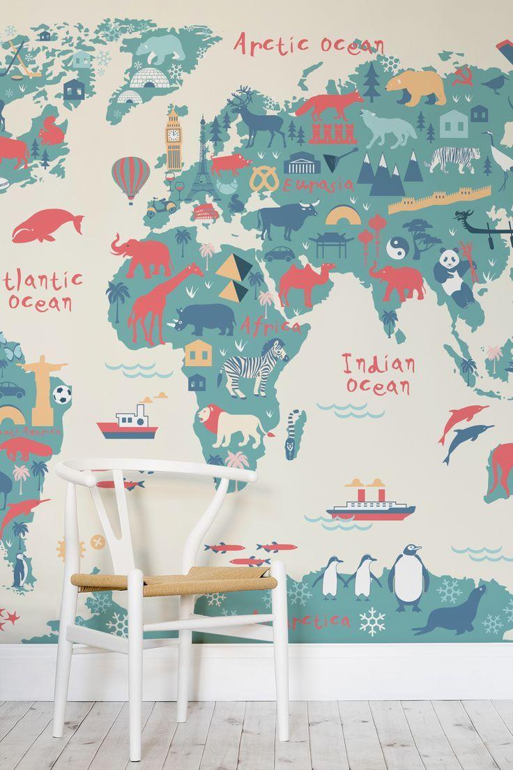 Top 5 pins of the week kids decor pinterest kid decor explorer kids world map mural fun map wallpaper for childrens rooms gumiabroncs Choice Image