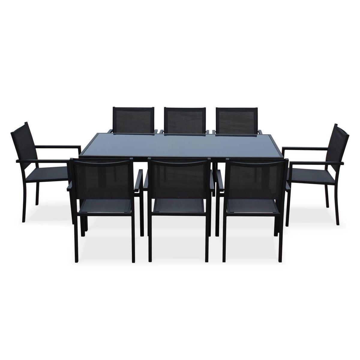 Salon De Jardin Aluminium Table 180cm, 8 Fauteuils En Textilène ...