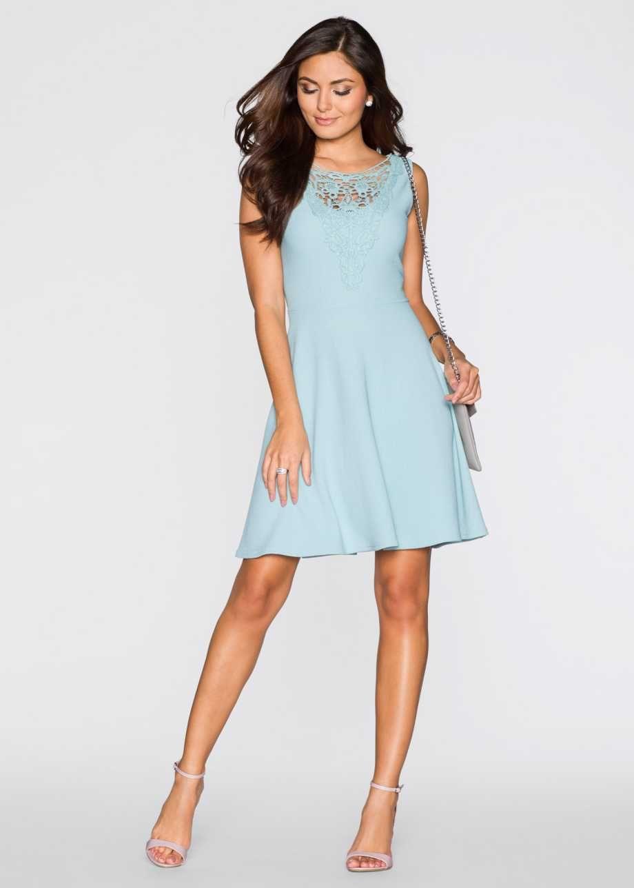 Kleid mit spitze bodyflirt aquapastell bonprix hochzeitsgesellschaft pinterest kleid - Festliche kleider bonprix ...