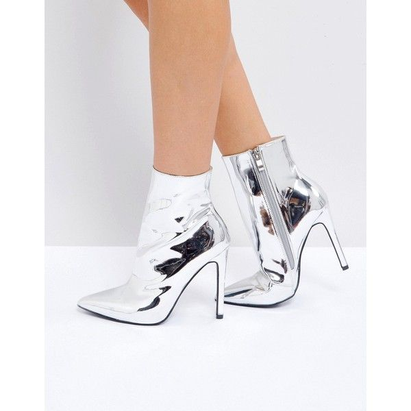 Public Desire Harlee High Shine Silver Heeled Ankle Boots (68 AUD) ❤ liked  on cc9229e1d