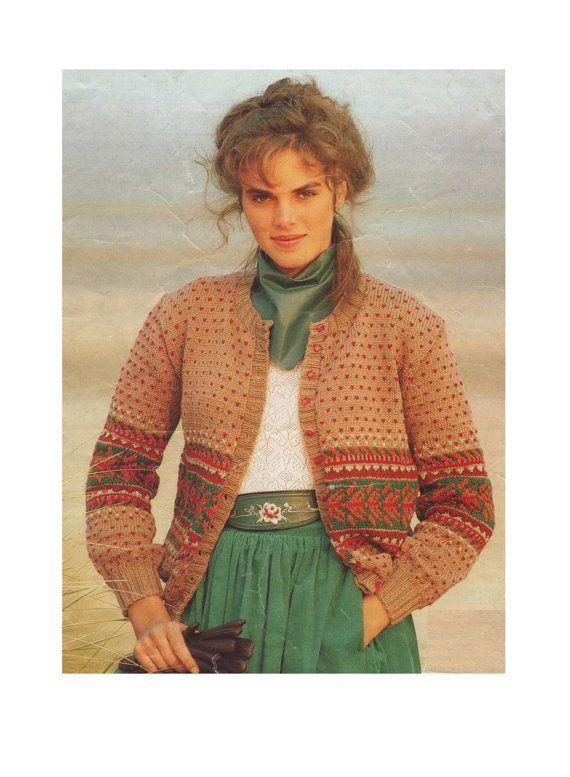 Womens Fair Isle Cardigan PDF Knitting Pattern : Ladies 32 - 38 ...
