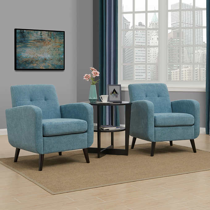 Simon Fabric Chair 2 Pack Blue Costco Chair Fabric Living Room Chairs Living Room Seating