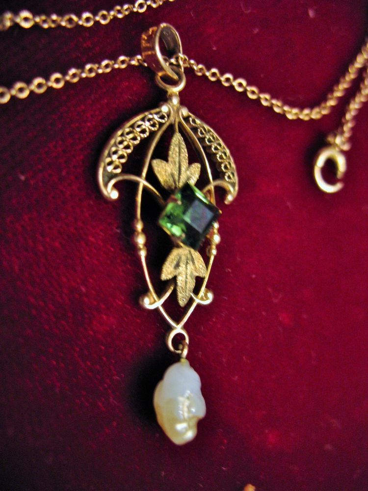 Antique Victorian 10k Gold Lavalier Pendant 16 Chain W Seed Pearl Green Stone Art Nouveau Jewelry Pendant Gold Value