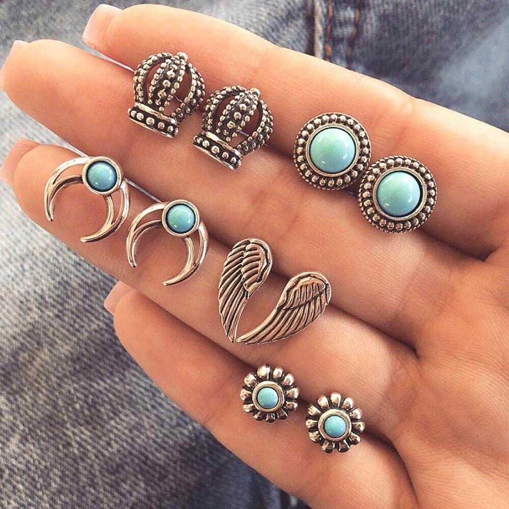 5Pairs Women Vintage Turquoise Earrings Jewelry Ear Stud Boho Earrings